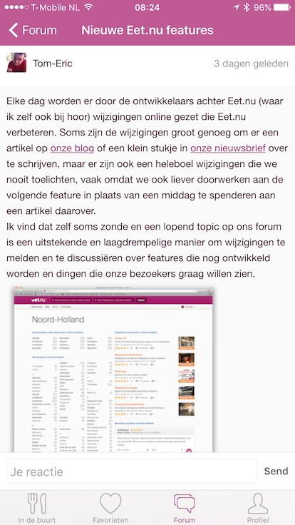 forum in iOS app